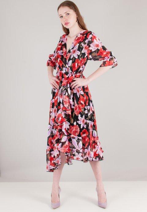 Φλοράλ φόρεμα με βολάν στο τελείωμα f5213ffcb68