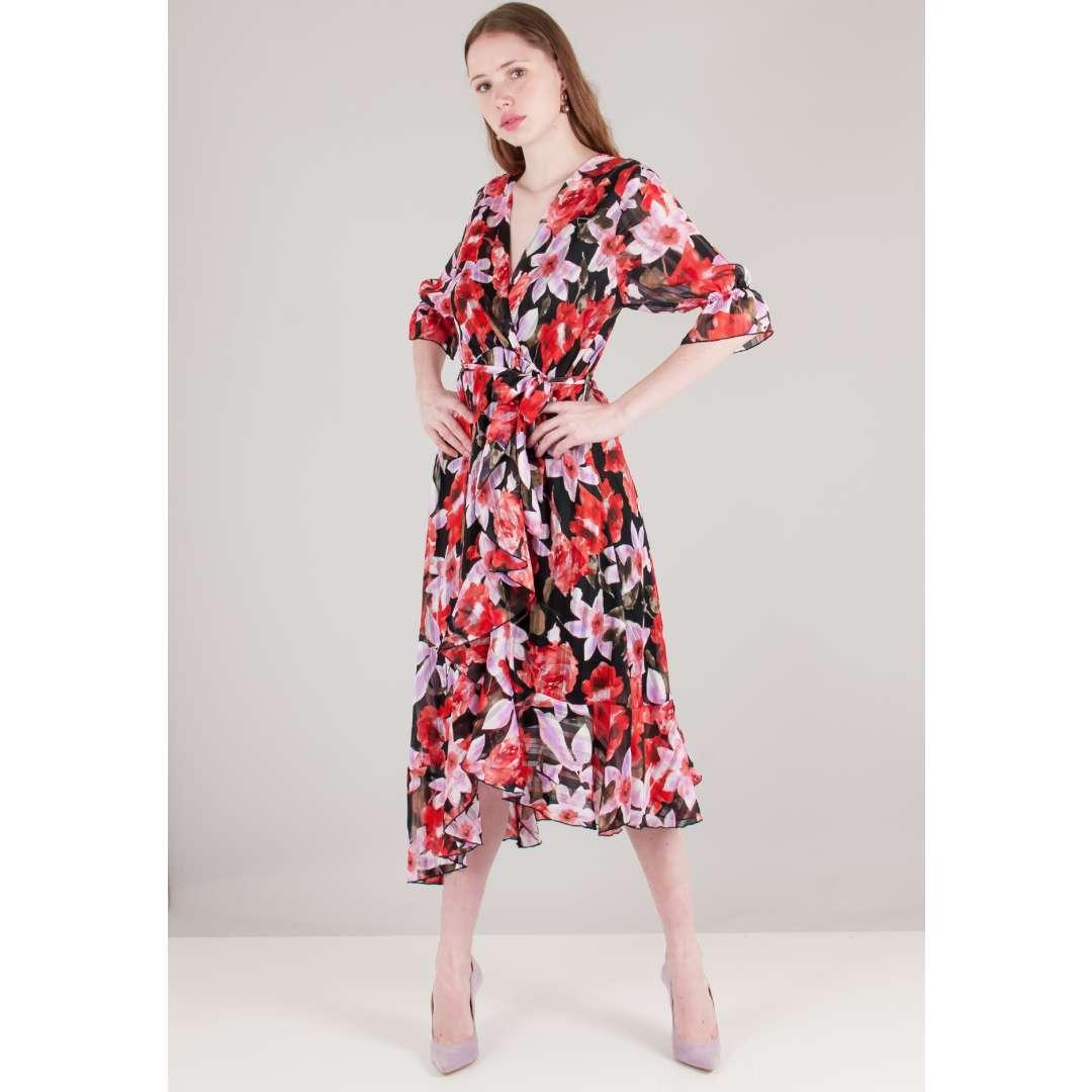 Φλοράλ φόρεμα με βολάν στο τελείωμα ενδυματα   φορεματα   μίντι φορέματα