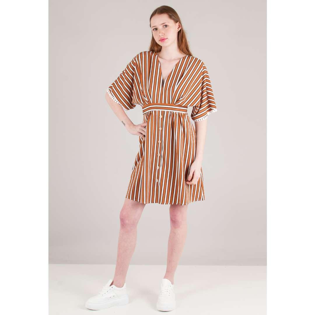 Ριγέ φόρεμα με κουμπιά μπροστά ενδυματα   φορεματα   shirt φορέματα