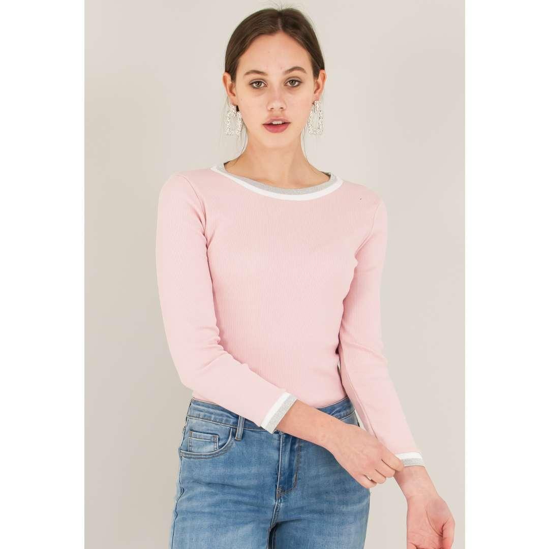 Ριπ μπλούζα με λούρεξ λεπτομέρειες ενδυματα   μπλουζεσ τοπ   basic μπλούζες