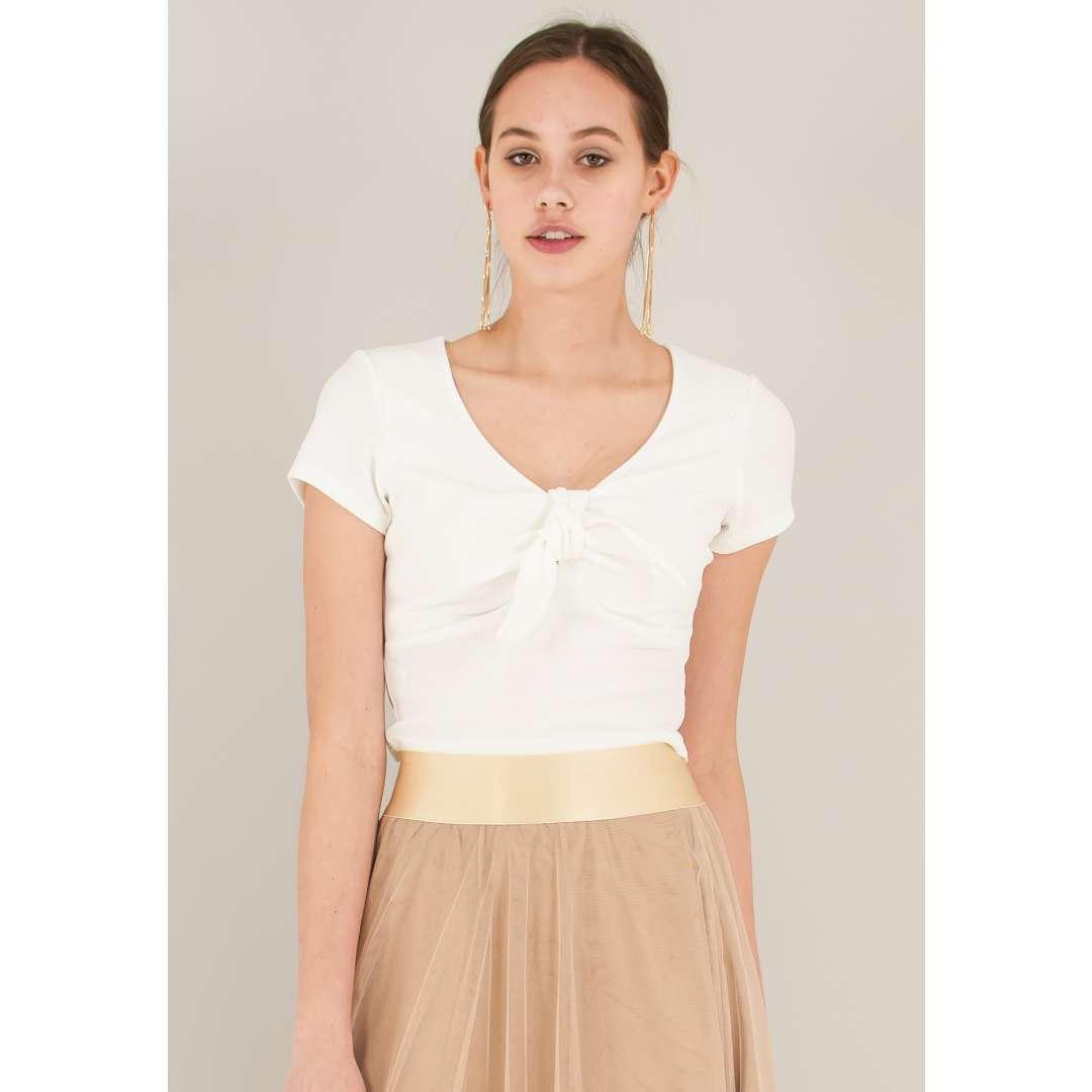 Crop top με δέσιμο φιόγκο ενδυματα   μπλουζεσ τοπ   cropped μπλούζες