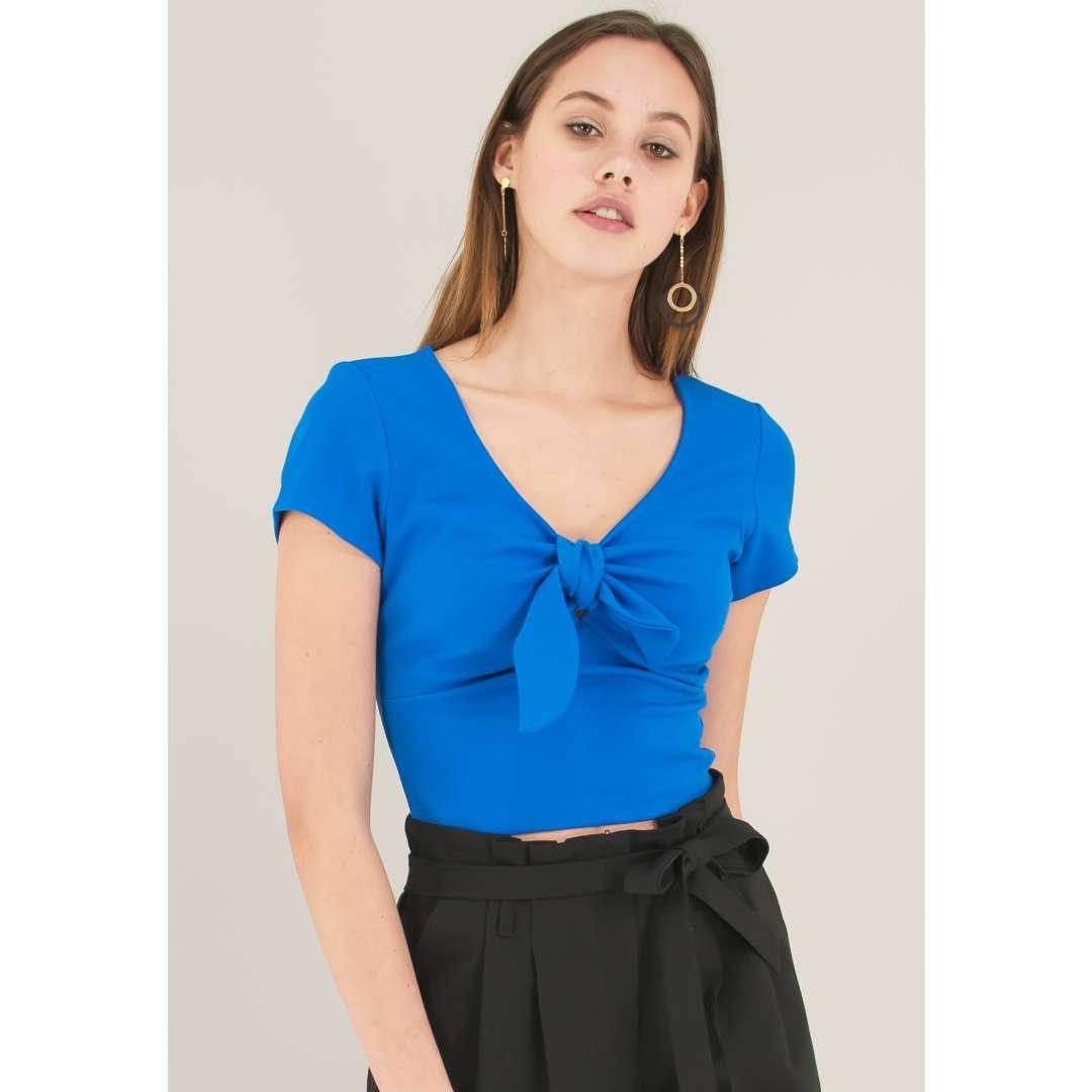 Crop top με λεπτομέρεια φιόγκο ενδυματα   μπλουζεσ τοπ   cropped μπλούζες