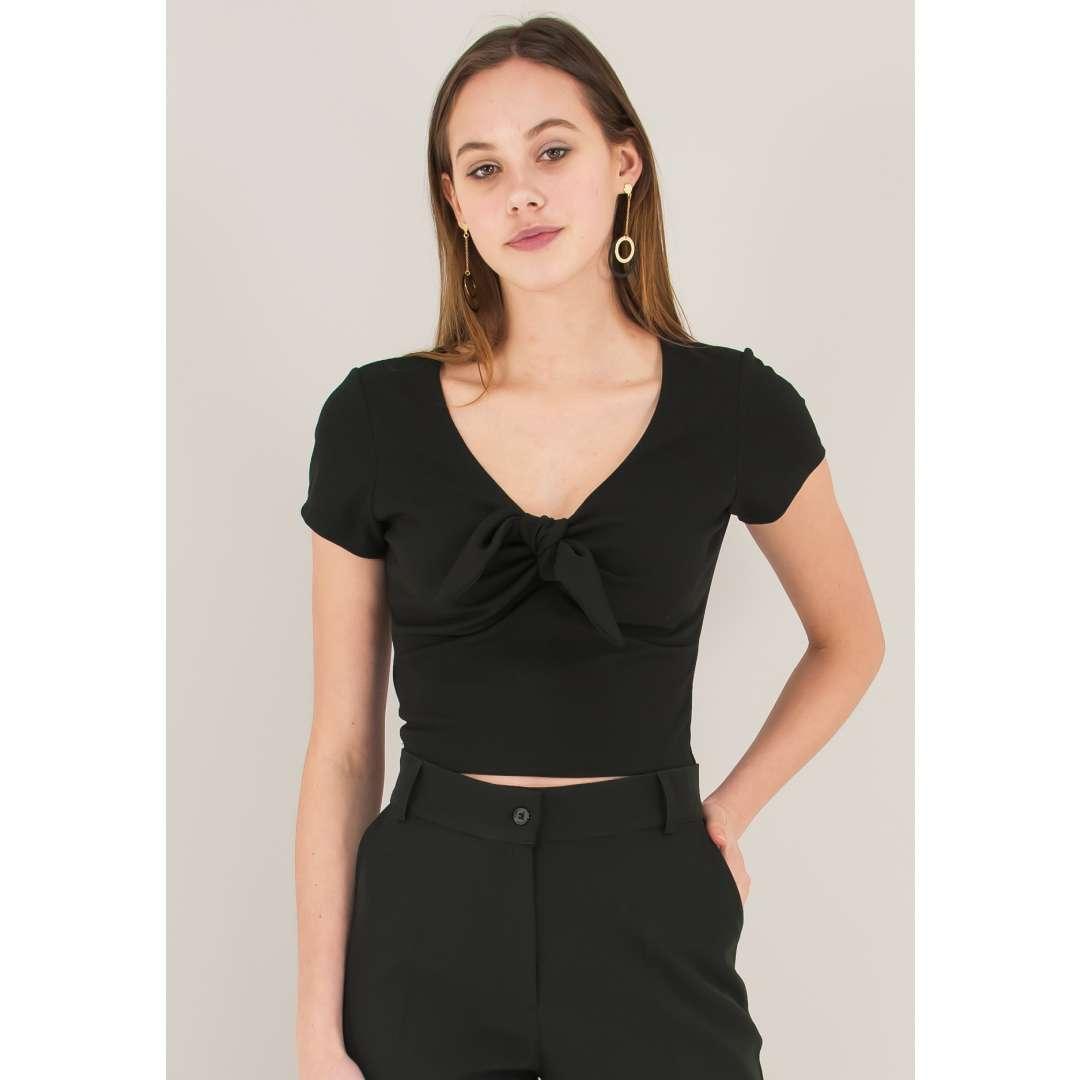 Crop top με φιόγκο μπροστά ενδυματα   μπλουζεσ τοπ   cropped μπλούζες