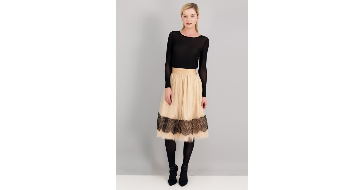 624f43138cb Μίντι φούστα σε στυλ μπαλαρίνας με λεπτομέρεια από δαντέλα. - ZIC ZAC