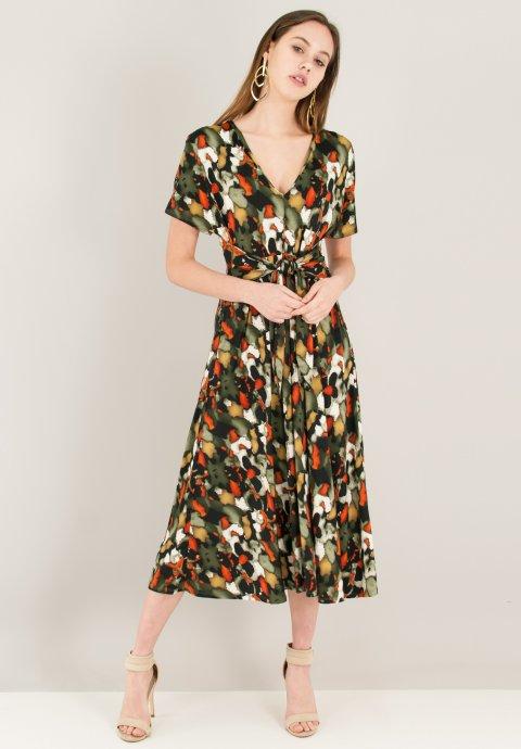 Εμπριμέ φόρεμα με δέσιμο στη μέση 2ebe3396c7f