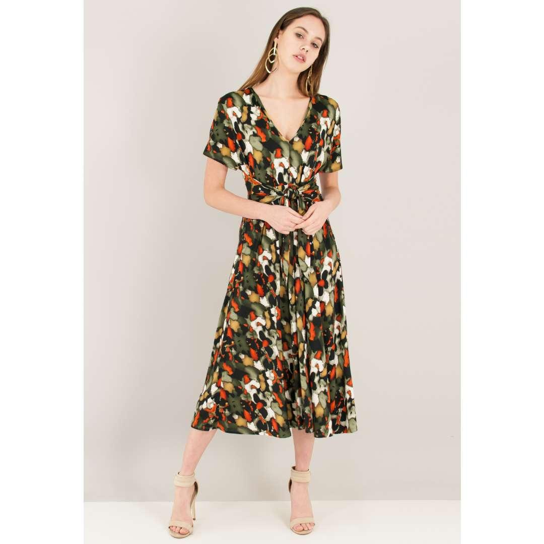 Εμπριμέ φόρεμα με δέσιμο στη μέση ενδυματα   φορεματα   μίντι φορέματα