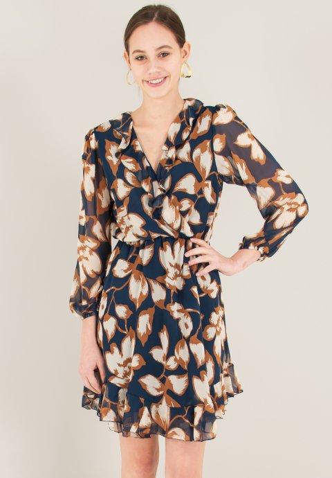 6d8f39c5b460 Μακρύ κρουαζέ animal print φόρεμα με μανίκια νυχτερίδα και κρόσια ...