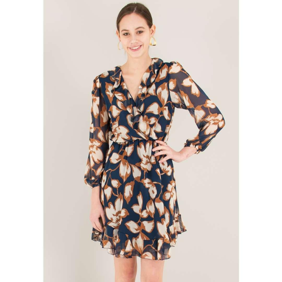 Εμπριμέ φόρεμα τύπου φάκελος με βολάν