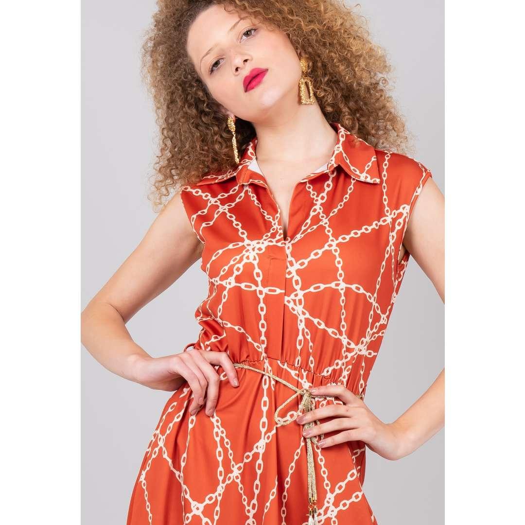 Φόρεμα με σχέδιο αλυσίδες σε στιλ πουκάμισο ενδυματα   φορεματα   shirt φορέματα