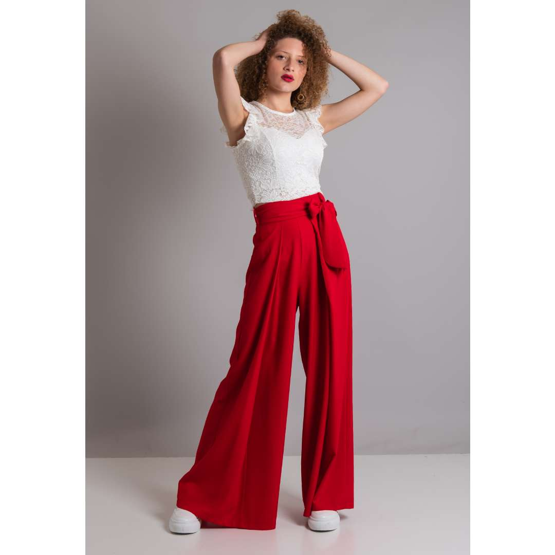 Ψηλόμεσο παντελόνι με πιέτες μπροστά