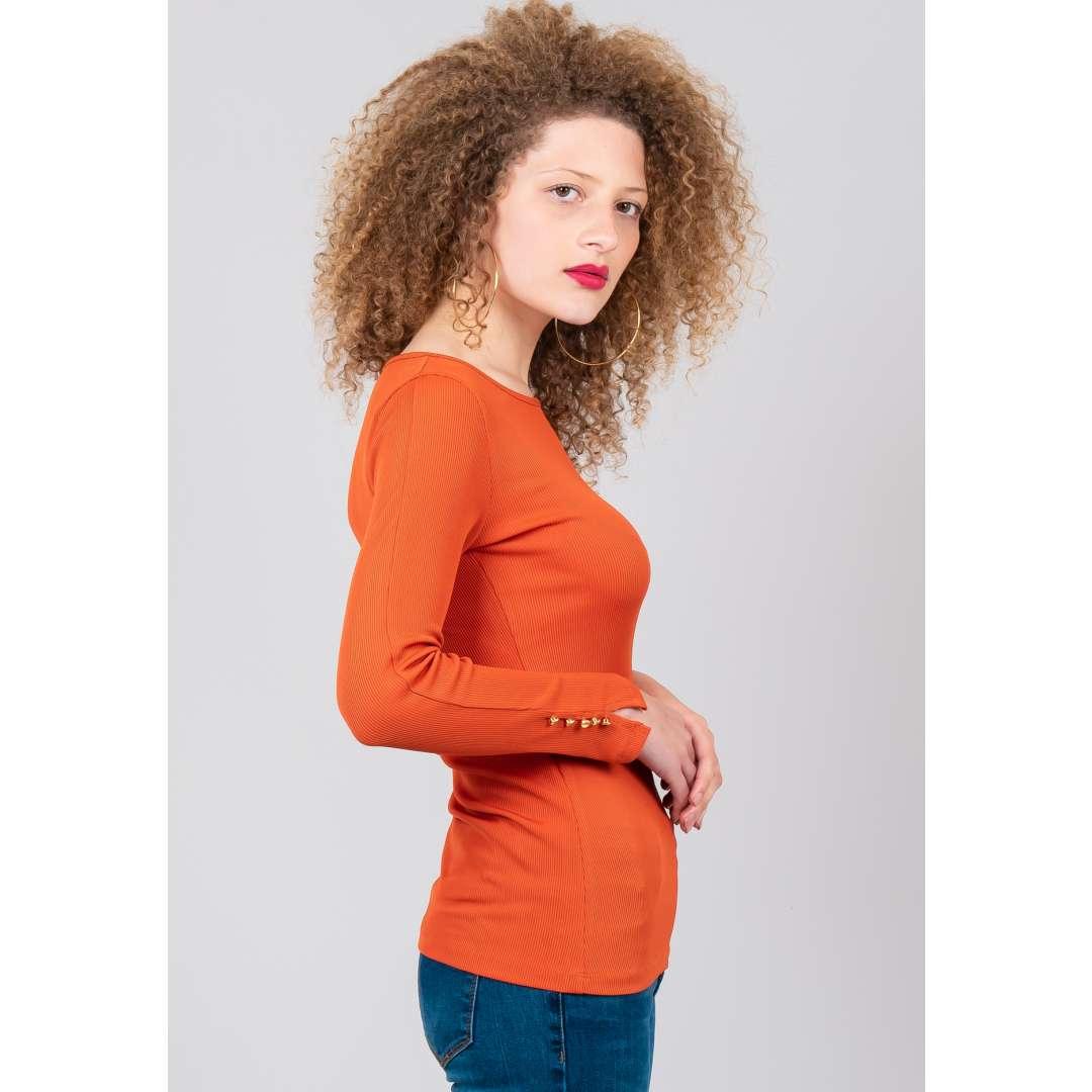 Μονόχρωμη ριπ μπλούζα ενδυματα   μπλουζεσ τοπ   basic μπλούζες