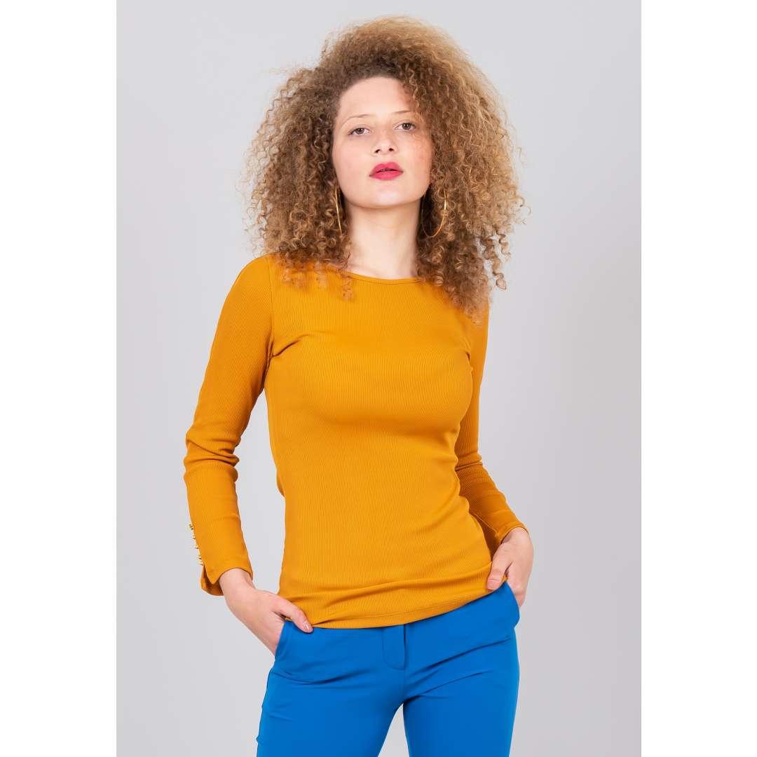 Μονόχρωμη ριμπ μπλούζα ενδυματα   μπλουζεσ τοπ   basic μπλούζες