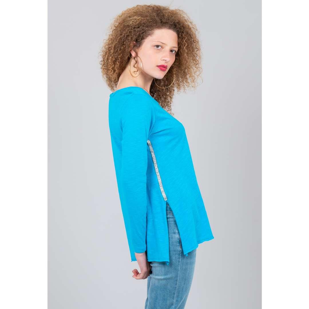 Μονόχρωμη μπλούζα με ρέλι σε αντίθεση ενδυματα   μπλουζεσ τοπ   όλα