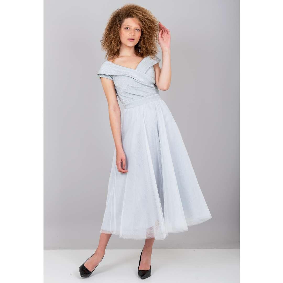 Φόρεμα με λούρεξ κρουαζέ μπούστο ενδυματα   φορεματα   μίντι φορέματα