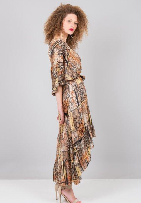 d3f072e220c0 Ασύμμετρο κρουαζέ φόρεμα με τύπωμα φίδι