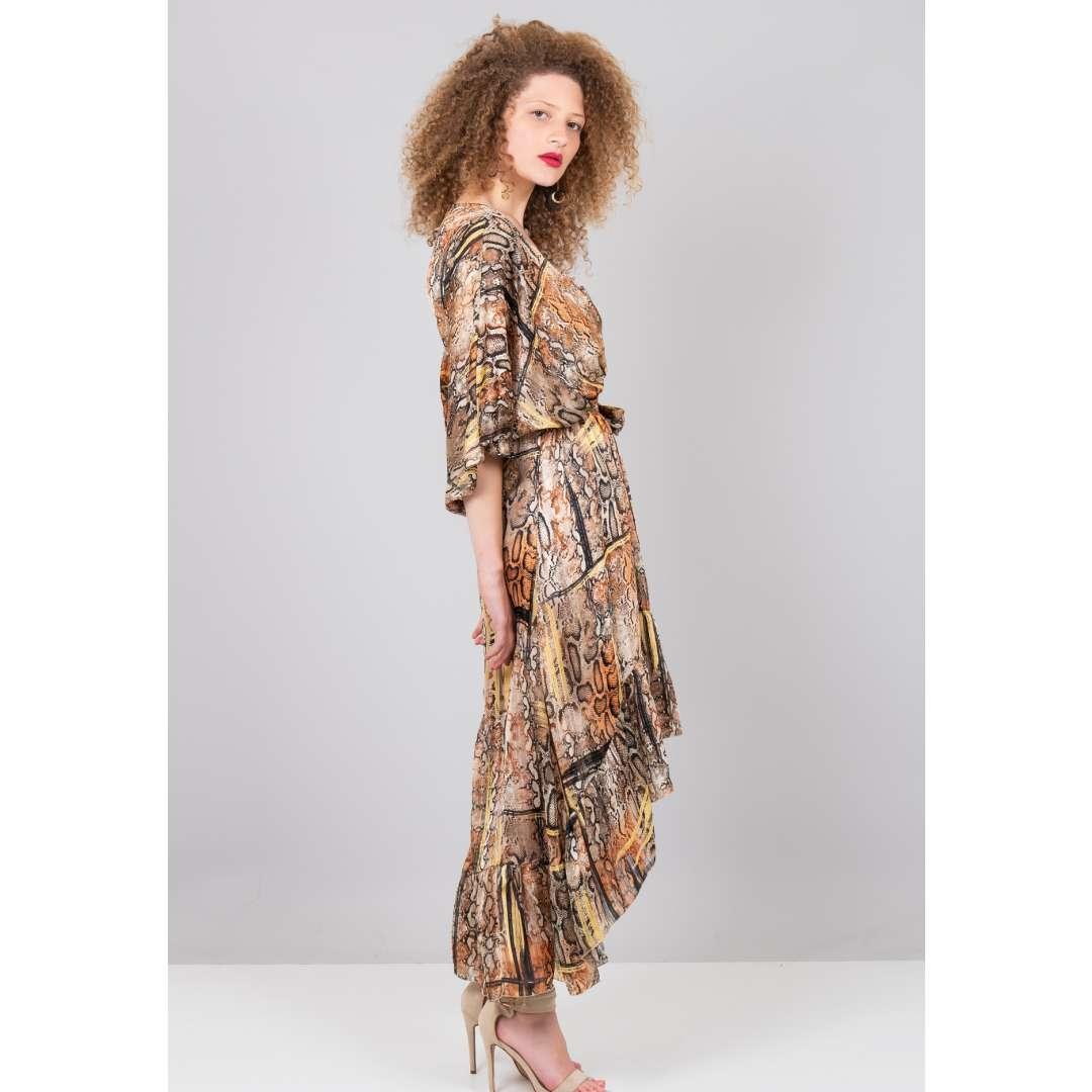 Ασύμμετρο κρουαζέ φόρεμα με τύπωμα φίδι ενδυματα   φορεματα   μίντι φορέματα