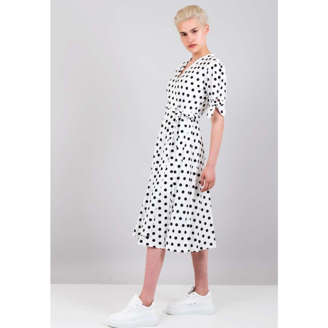 Πουά δετό φόρεμα ενδυματα   φορεματα   μίντι φορέματα
