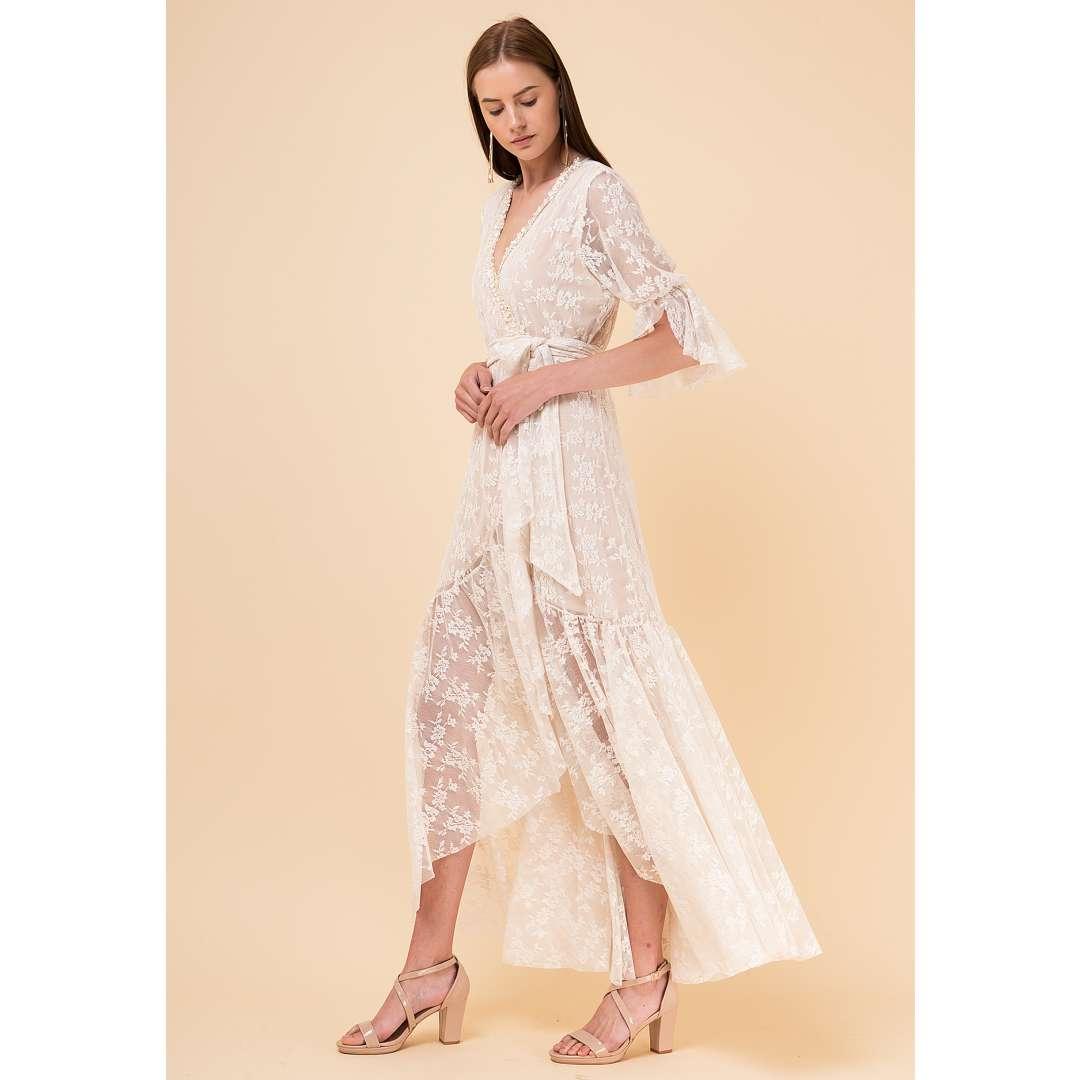 Δαντελένιο δετό κρουαζέ φόρεμα