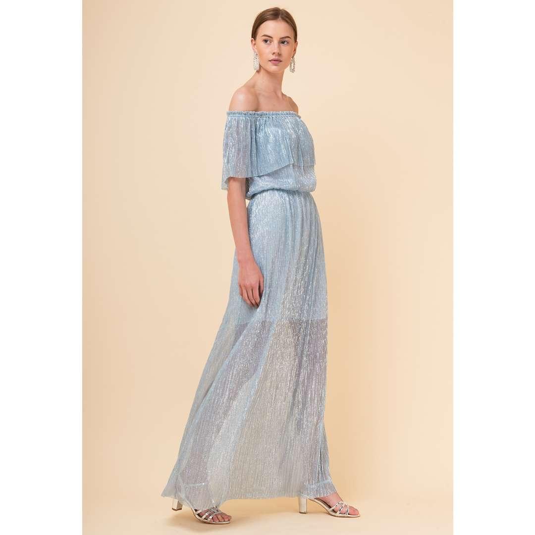 Off the shoulder λούρεξ φόρεμα
