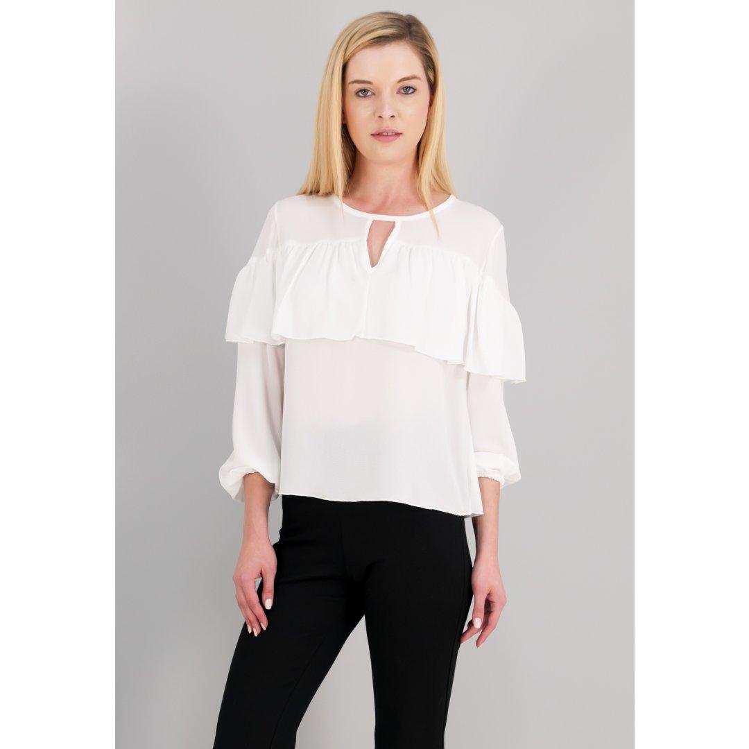 Μπλούζα σε στυλ πουκάμισο με λεπτομέρεια με βολάν. ενδυματα   πουκαμισα